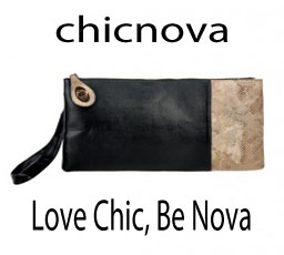 Black Leather Clutches with Snake Skin Panel