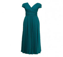 Crossed V Neckline Chiffon Dress with Fitted High Waist