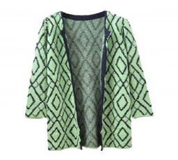 Longline Rhombus Cardigan with Open Front